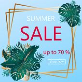 Summer Sale. Advertising Banner With Text And Bouquets Of Tropical Palm Leaves In Golden Frame. Exot poster