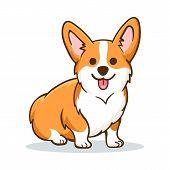 Corgi. Funny Orange Smiling Welsh Corgi Vector Illustration, Cute Comic Canine Character poster