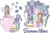 Summertime Floral Fairy Princess Cartoon Vector Illustration Set For Print, Fabric And Decoration. poster