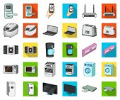 Smart Home Appliances Cartoon, Flat Icons In Set Collection For Design. Modern Household Appliances  poster