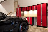 Residential Home Garage Interior Highly Organized And Clean With Car Inside poster