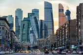 Panorama Of Moscow With Skyscrapers Of Moscow-city At Sunset, Russia. Contemporary Tall Buildings At poster