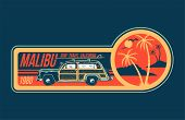 Old Vintage Car For Summer Surfing Traveling And Living On The Paradise California Beaches With Sun  poster
