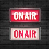 On Air Studio Light Sign. Media Broadcasting Warning Sign. Live Board Production Record Attention. poster