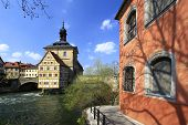 stock photo of regnitz  - Old Town Hall Bamberg - JPG