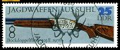 Vintage  Postage Stamp. Superimposed  Double-barreled  Gun . 1978.