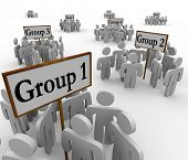 image of regrouping  - Several groups of people in different factions gathered around signs or banners marked Group 1 - JPG