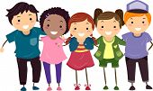 image of chums  - Illustration of a Group of Boys and Girls Huddled Together - JPG