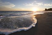 pic of beach sunset  - malibu beach sunset with wisps of clouds - JPG