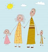 Happy Family - Mom, dad, boy and girl, four-member family holding hands on a sunny postcard; doodle