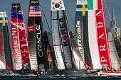 SAN FRANCISCO, CA - OCTOBER 4: The America'??s Cup World Series sailing fleet races in San Francisco