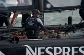 SAN FRANCISCO, CA - OCTOBER 4: Dean Barker, skipper of Emirates Team New Zealand, competes in the Am
