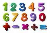stock photo of number 7  - illustration of numbers and maths symbols on white background - JPG