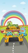 illustration of monsters, school bus and rainbow on a white background