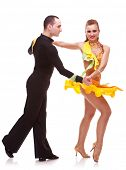 foto of jive  - demonstration of dance from a salsa dance couple - JPG