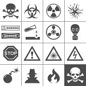stock photo of dangerous  - Danger and warning icons - JPG