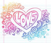 stock photo of xoxo  - Love Lettering Heart Back to School Sketchy Notebook Doodles with Flowers - JPG