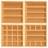 Set of Wooden Bookshelf, Cabinets. Vector Objects Isolated on White Background