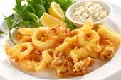 stock photo of tartar  - fried calamari - JPG