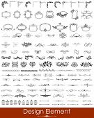 foto of scroll  - illustration of set of vintage design elements - JPG
