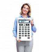 image of payroll  - Accountant business woman with a calculator - JPG