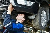 picture of levers  - automotive mechanic worker examining car bottom during automobile car maintenance at lever repair service station - JPG