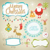 Set of Christmas and New Year elements, cute frames for text