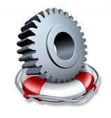 stock photo of lifeline  - Business insurance concept and company owner protection as a gear or cog wheel in a lifesaver or life belt as a lifeline symbol of financial risk and security from hazards like flooding fire and burglary - JPG