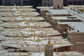 pic of masjid nabawi  - Umbrellas in Nabawi Mosque at noon close up in saudi arabia - JPG