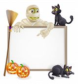 image of halloween characters  - A Halloween sign with a classic mummy character pointing down and witch - JPG