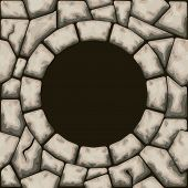 Circle Frame With Stone Seamless Pattern