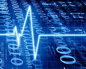 pic of blue-screen-of-death  - Heart beat on clinic monitor on a blue background - JPG