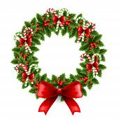 stock photo of christmas wreath  - Vector illustration Christmas holly wreath with red bow and candy - JPG
