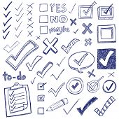 pic of yes  - Checkmarks and checkboxes drawn in a doodled style - JPG