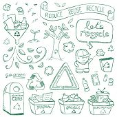 pic of reuse  - Recycling illustrations drawn in a doodled style - JPG