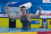 Jul 28 2009; Rome Italy; Cameron Van Der Burgh (RSA) reacts after  the 2nd mens 50m breaststroke sem
