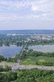 image of winona  - Aerial view of Winona from atop bluffs above highway 61 and Lake Winona in Minnesota - JPG