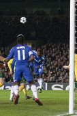 LONDON ENGLAND 23-11-2010. Chelsea's forward Salomon Kalou (21) heads the ball into the penalty area