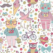 Funny seamless pattern with hipster cats, cameras, glasses, swallow, ice cream, mustache, bicycle, o