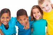 stock photo of cheer-up  - group of multiracial kids portrait in studio on white background - JPG