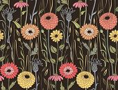 image of wildflower  - Floral seamless vector witj colored flowers background - JPG