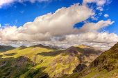 Blue sky and clouds across the mountains of Snowdonia, North Wales, UK
