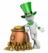 3D White People. St Patricks Day. Leprechaun With Pot With Gold Coins