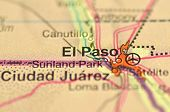 A closeup of El Paso, Texas in the USA on a map