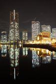 image of minato  - Yokohama minato mirai area skyline night view - JPG