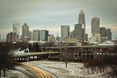 Charlotte Skyline with Snow