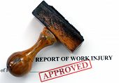pic of workplace accident  - Close up of Work injury report text - JPG