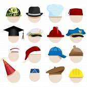 picture of newsboy  - vector set of various hats on heads - JPG