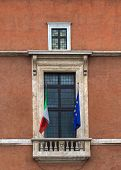 picture of mussolini  - View of Balcony of Palazzo Venezia also called Mussolini balcony in Rome Italy