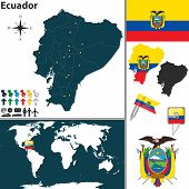 foto of guayaquil  - Vector map of Ecuador with regions coat of arms and location on world map - JPG